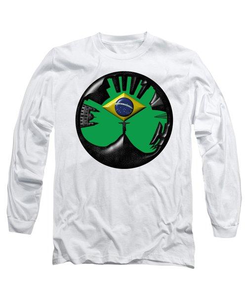 Rio De Janeiro Skyline Long Sleeve T-Shirt by Michal Boubin