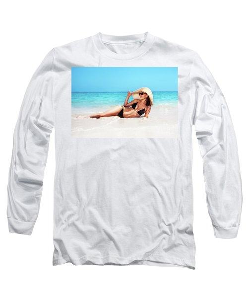 Beautiful Woman On The Beach Long Sleeve T-Shirt