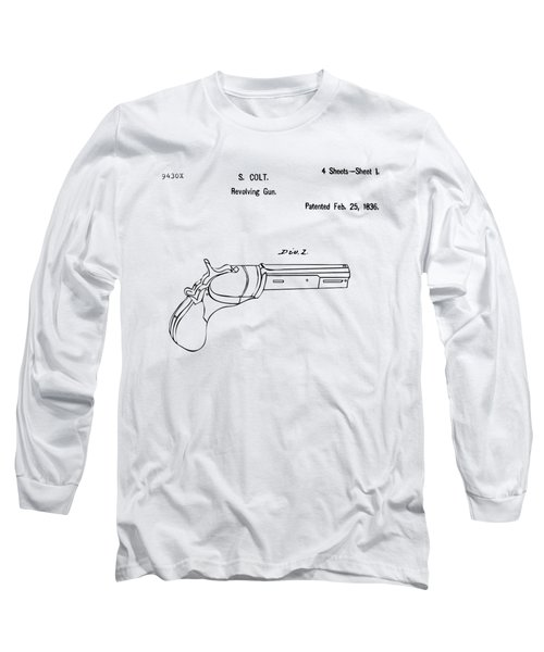 1836 First Colt Revolver Patent Artwork - Vintage Long Sleeve T-Shirt