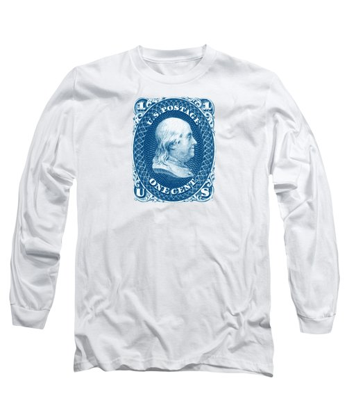 Long Sleeve T-Shirt featuring the painting 1861 Benjamin Franklin Stamp by Historic Image