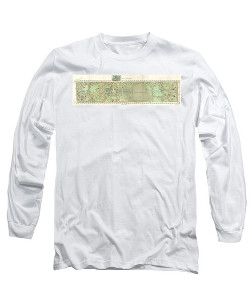 1870 Vaux And Olmstead Map Of Central Park New York City Long Sleeve T-Shirt