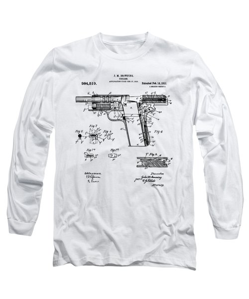 Long Sleeve T-Shirt featuring the drawing 1911 Colt 45 Browning Firearm Patent 2 Artwork Vintage by Nikki Marie Smith