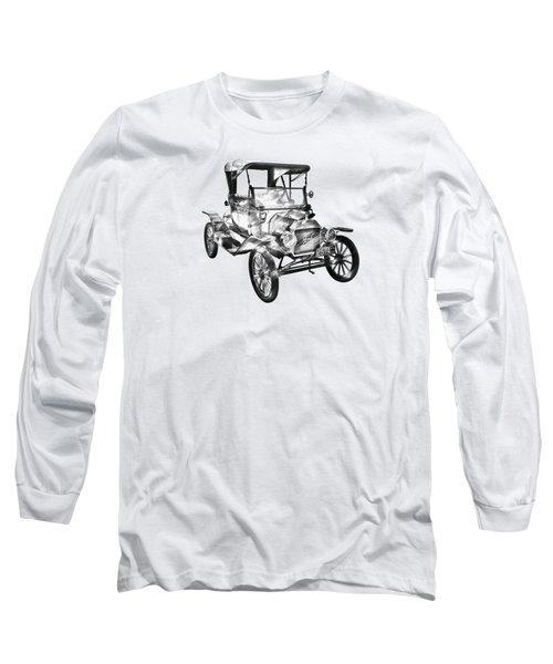 1914  Model T Ford Antique Car Illustration Long Sleeve T-Shirt