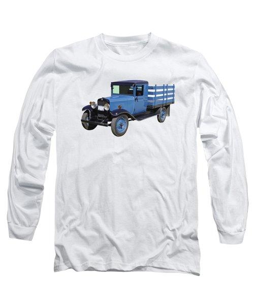 1929 Blue Chevy Truck 1 Ton Stake Body Long Sleeve T-Shirt