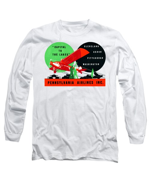 1930 Penn Airlines Poster Long Sleeve T-Shirt by Historic Image