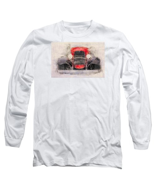 1932 Ford Roadster Red And Black Long Sleeve T-Shirt