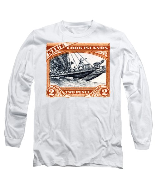 Long Sleeve T-Shirt featuring the painting 1932 Niue Island Stamp by Historic Image