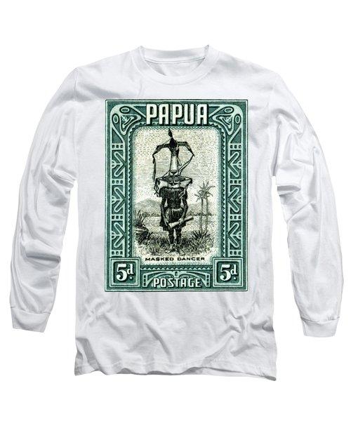 1932 Papua Masked Dancer Stamp Long Sleeve T-Shirt