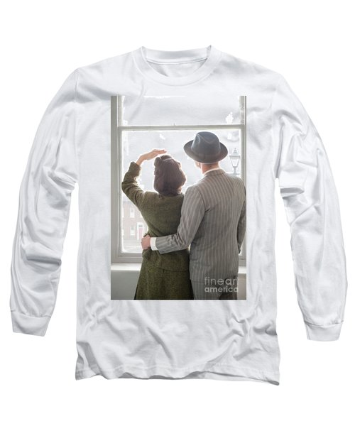 1940s Couple At The Window Long Sleeve T-Shirt by Lee Avison