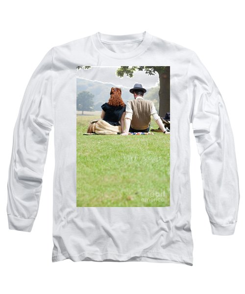 1940s Couple Sitting In The Sunshine Long Sleeve T-Shirt by Lee Avison
