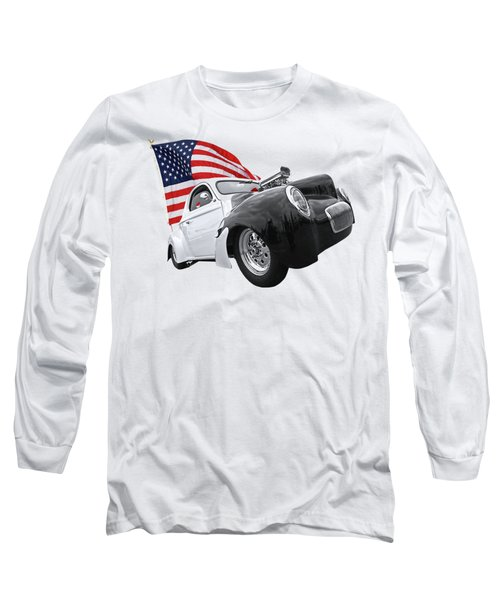 Long Sleeve T-Shirt featuring the photograph 1941 Willys Coupe With Us Flag by Gill Billington