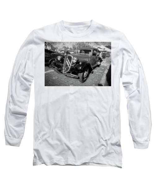 1953 Citroen Traction Avant Bw Long Sleeve T-Shirt by Rich Franco