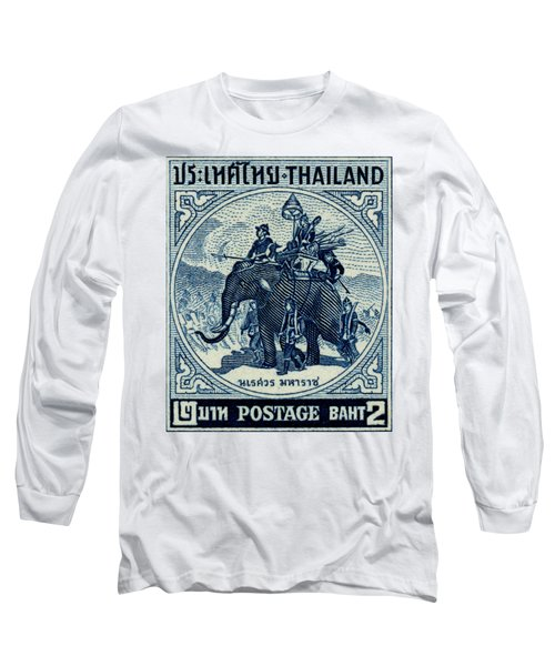 1955 Thailand War Elephant Stamp Long Sleeve T-Shirt