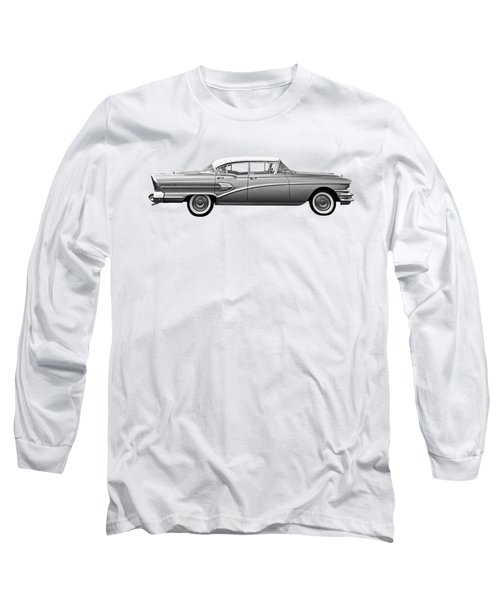 1958 Buick Roadmaster 75 In Black And White Long Sleeve T-Shirt