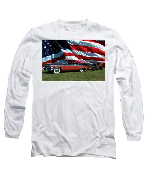 1958 Dodge Coronet And 1935 International Dragster Long Sleeve T-Shirt by Tim McCullough