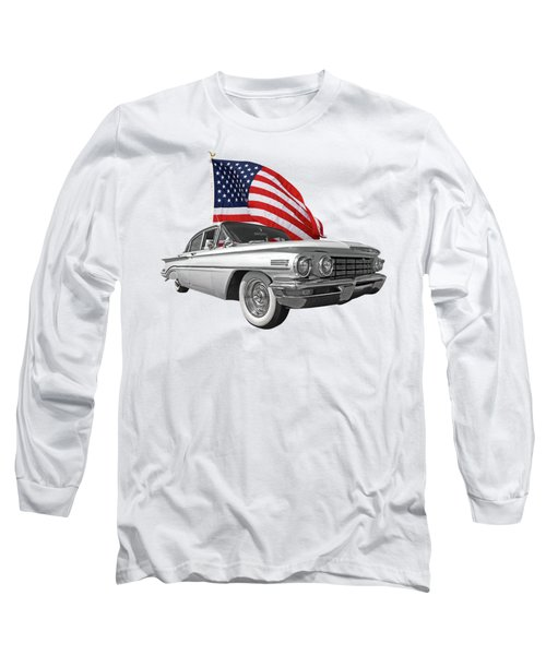 Long Sleeve T-Shirt featuring the photograph 1960 Oldsmobile With Us Flag by Gill Billington