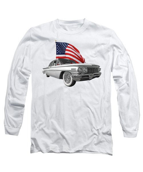 1960 Oldsmobile With Us Flag Long Sleeve T-Shirt