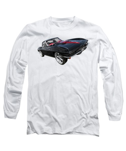 1963 Corvette Stingray Split Window In Black And Red Long Sleeve T-Shirt