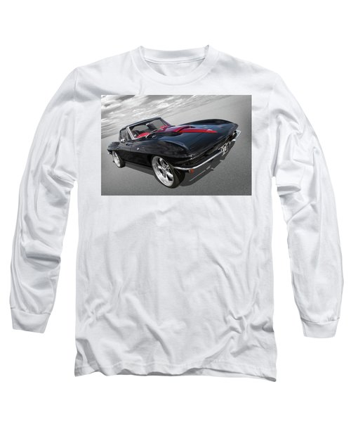 Long Sleeve T-Shirt featuring the photograph 1963 Corvette Stingray Split Window In Black And Red by Gill Billington