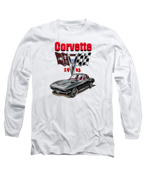 Long Sleeve T-Shirt featuring the mixed media 1963 Corvette With Split Rear Window by Thomas J Herring