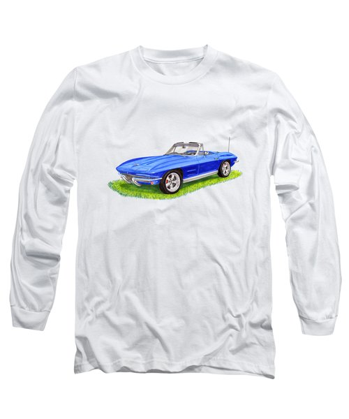 Long Sleeve T-Shirt featuring the painting 1964 Corvette Stingray by Jack Pumphrey
