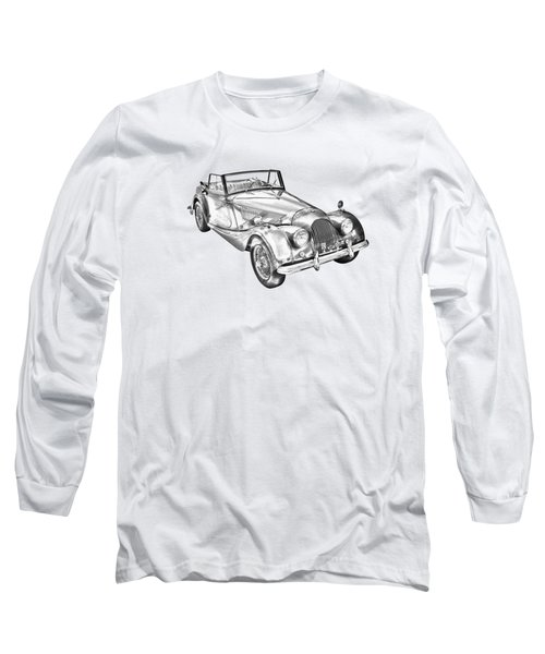 1964 Morgan Plus 4 Convertible Sports Car Illustration Long Sleeve T-Shirt
