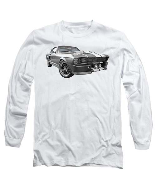 1967 Eleanor Mustang In Black And White Long Sleeve T-Shirt by Gill Billington