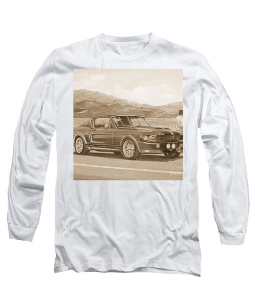 1967 Ford Mustang Fastback In Sepia Long Sleeve T-Shirt