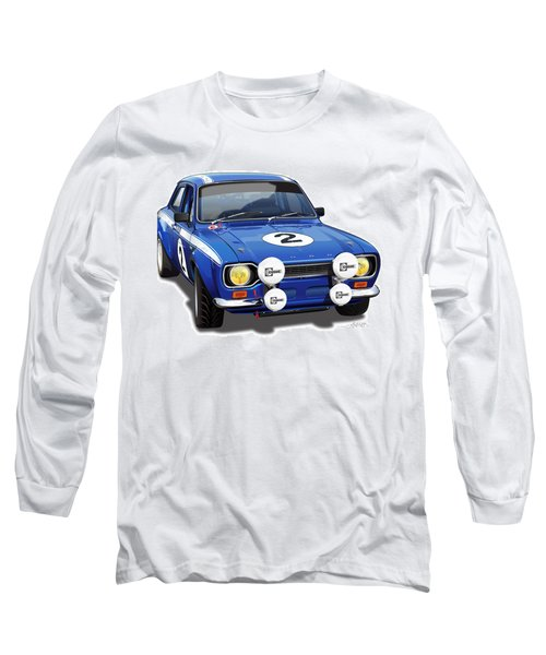 1970 Ford Escort Mexico Illustration Long Sleeve T-Shirt by Alain Jamar
