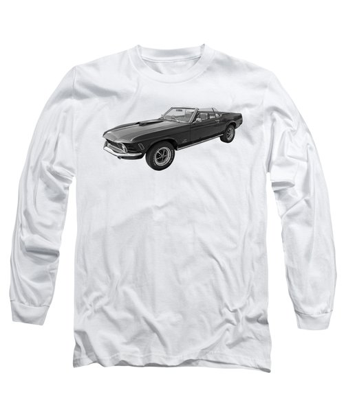 1970 Mach 1 Mustang 351 Cleveland In Black And White Long Sleeve T-Shirt