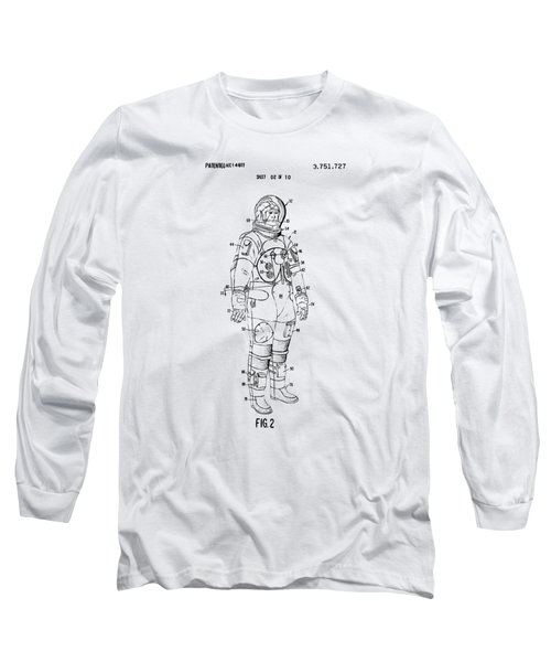 1973 Astronaut Space Suit Patent Artwork - Vintage Long Sleeve T-Shirt by Nikki Marie Smith