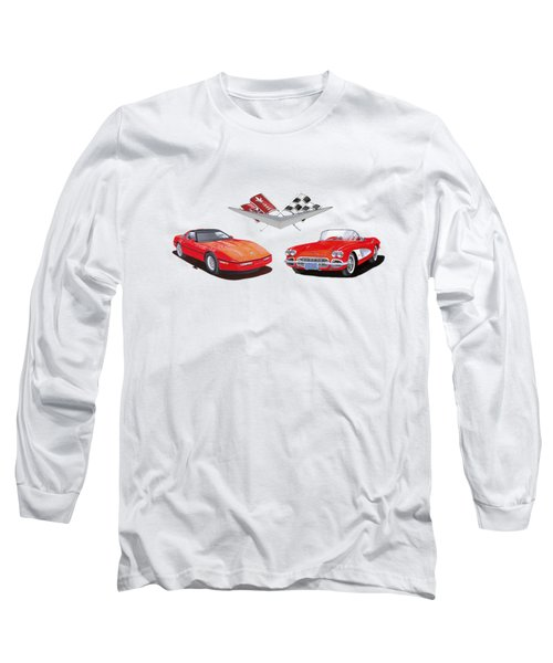 1986 And 1961 Corvettes Long Sleeve T-Shirt by Jack Pumphrey