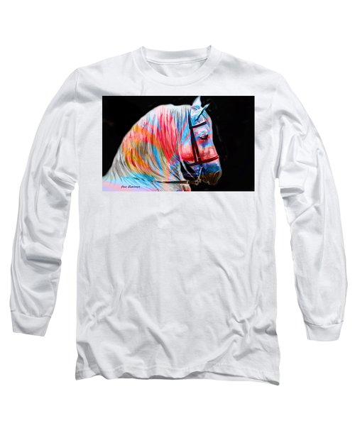 Long Sleeve T-Shirt featuring the painting Abstract White Horse 19 by J- J- Espinoza