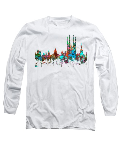Barcelona Spain Skyline Long Sleeve T-Shirt by Marlene Watson