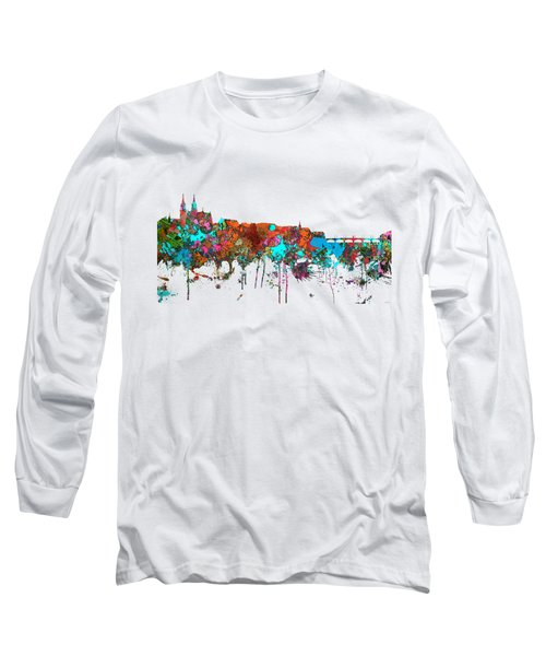 Basle Switzerland Skyline Long Sleeve T-Shirt by Marlene Watson