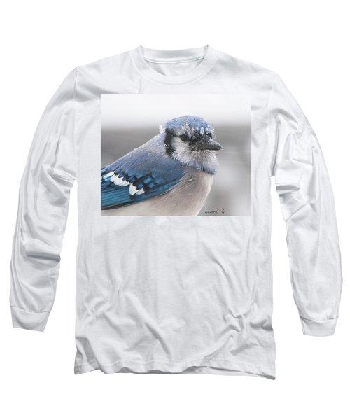 Blue Jay In A Blizzard Long Sleeve T-Shirt