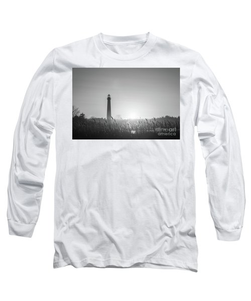 Cape May Lighthouse Sunset Bw Long Sleeve T-Shirt