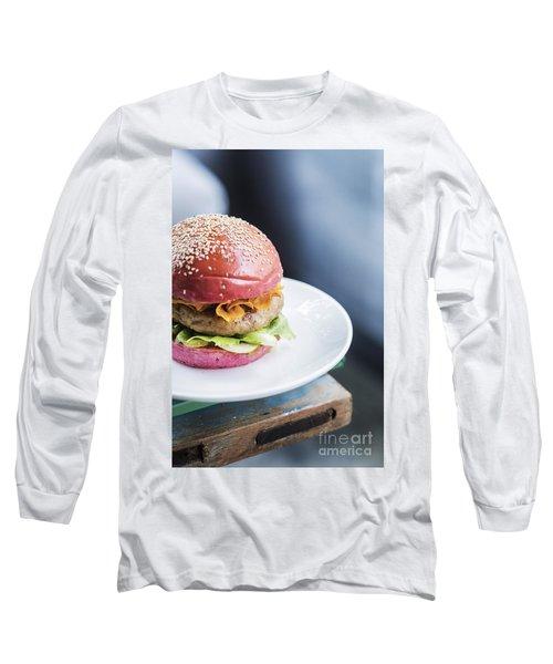 Chicken Burger With Gherkins Beetroot Bread Bun Long Sleeve T-Shirt