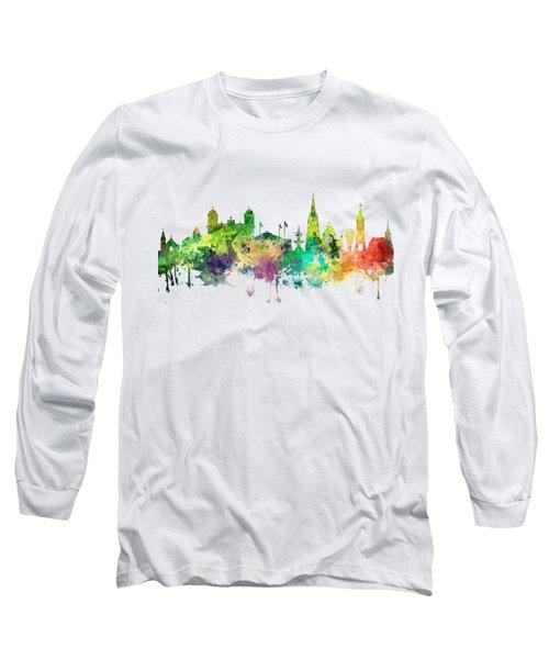Christchurch Nz Skyline Long Sleeve T-Shirt by Marlene Watson