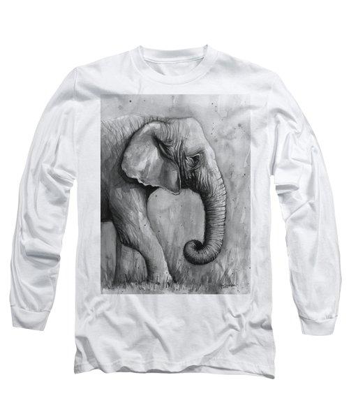 Elephant Watercolor Long Sleeve T-Shirt