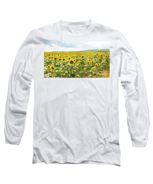 Field With Sunflowers Long Sleeve T-Shirt