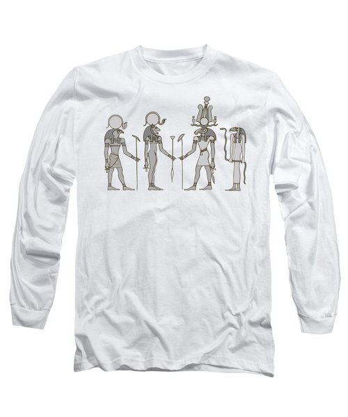 Gods Of Ancient Egypt Long Sleeve T-Shirt by Michal Boubin