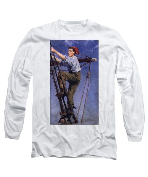 Long Sleeve T-Shirt featuring the painting Going Aloft by Henry Scott Tuke