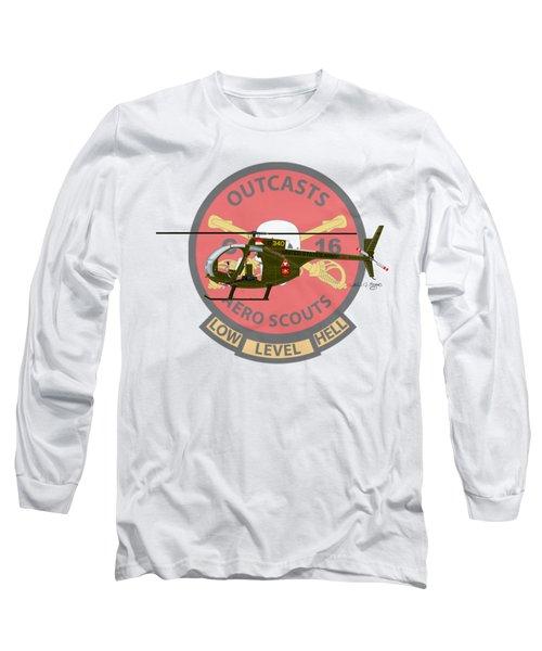Long Sleeve T-Shirt featuring the digital art Hughes Oh-6a Cayuse Miss Clawd Iv by Arthur Eggers