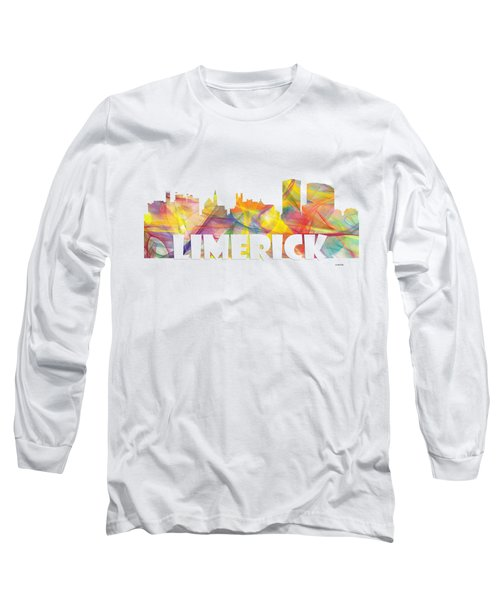 Limerick Ireland Skyline Long Sleeve T-Shirt by Marlene Watson