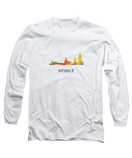 Mobile Alabama Skyline Long Sleeve T-Shirt by Marlene Watson