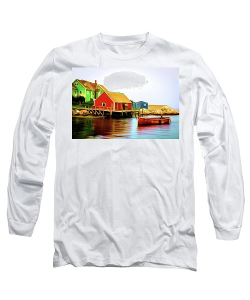 Peggy's Cove Long Sleeve T-Shirt by Andre Faubert