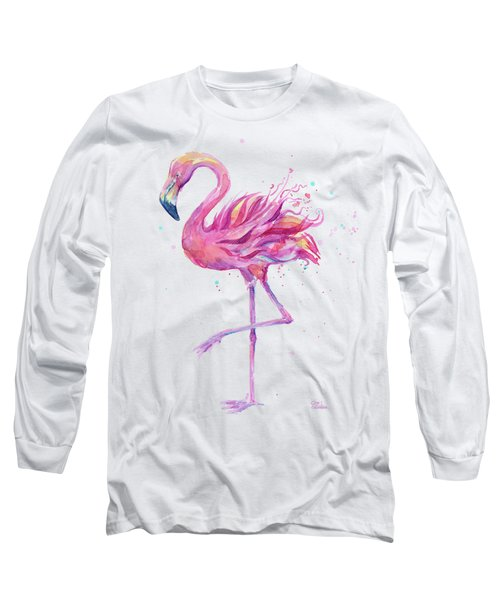 Pink Flamingo Watercolor Long Sleeve T-Shirt
