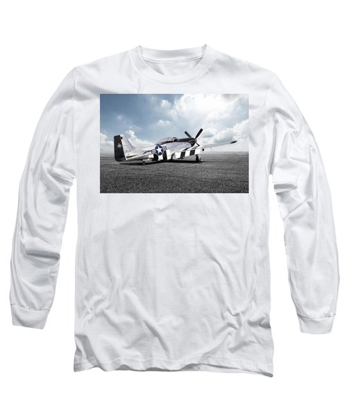 Long Sleeve T-Shirt featuring the digital art Quick Silver P-51 by Peter Chilelli