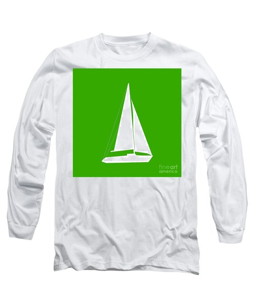 Sailboat In Green And White Long Sleeve T-Shirt